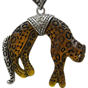 Leopard Pave Pendant Style Necklace 1980
