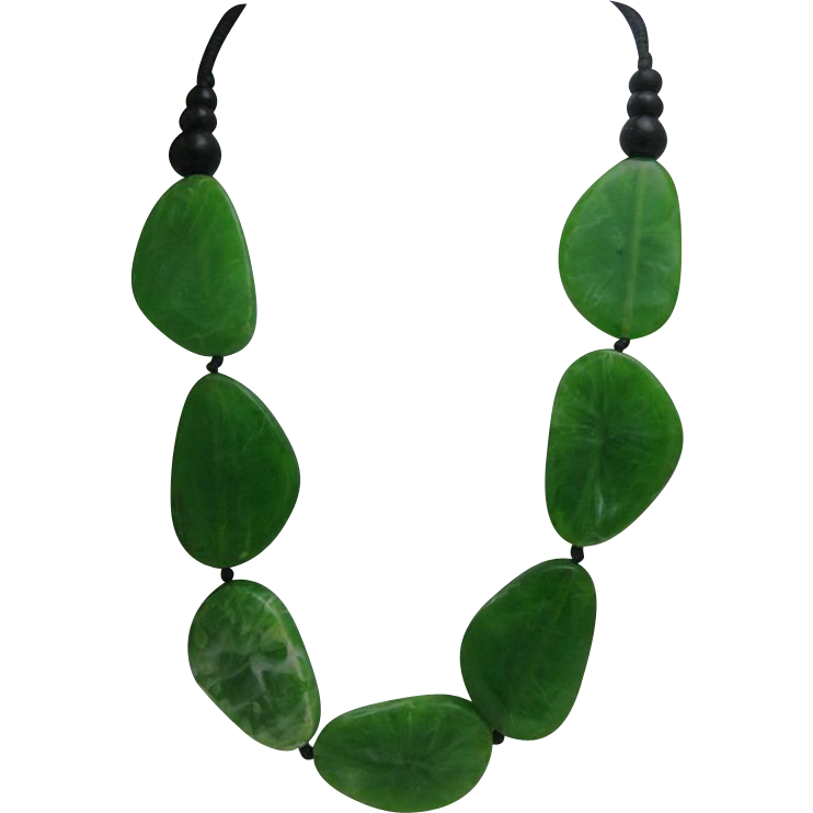 Marbled Spinach Lucite Wafer Necklace