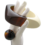 Swinging Sixties Rootbeer Bracelet Ring FABULOUS