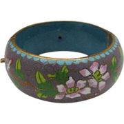 Spectacular Early Cloisonne Hinged Domed Bracelet