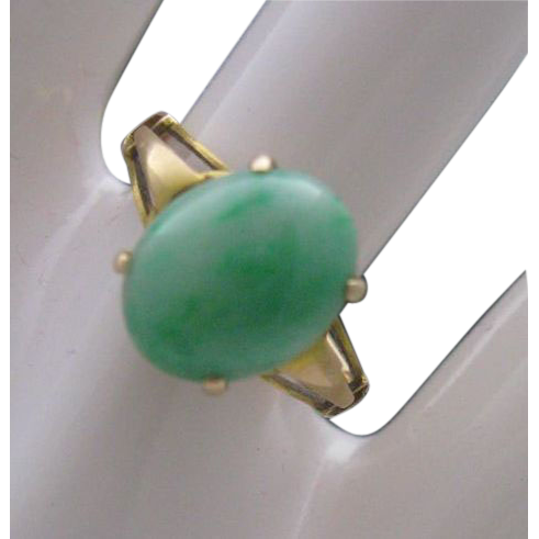 Ladies Moss Jade Ring 14 K Gold size 6 App 700.00