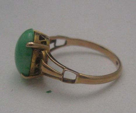 Ladies Moss Jade Ring 14 K Gold Size 6 App 700 00 From Antiquesalad On Ruby Lane