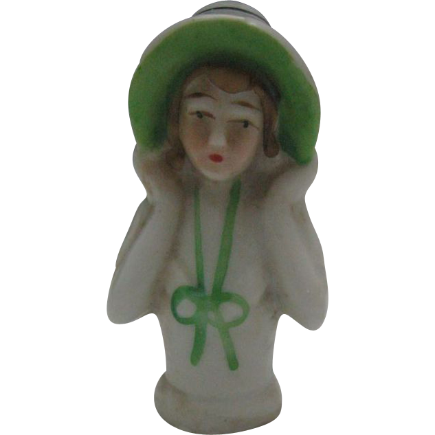 Art Deco Bisque China Half Pin Cushion Doll