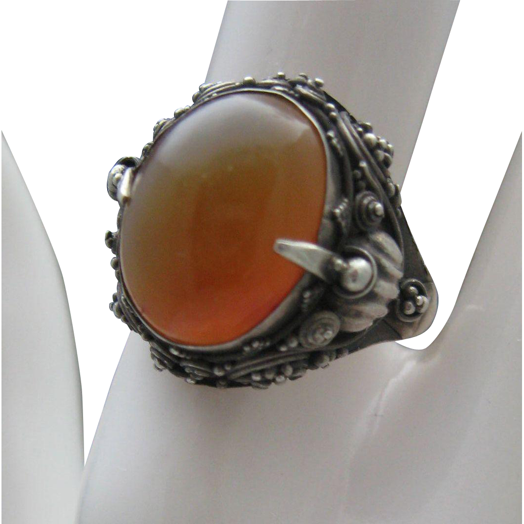 Chinese Export Carnelian Ring Silver size 7 3/4