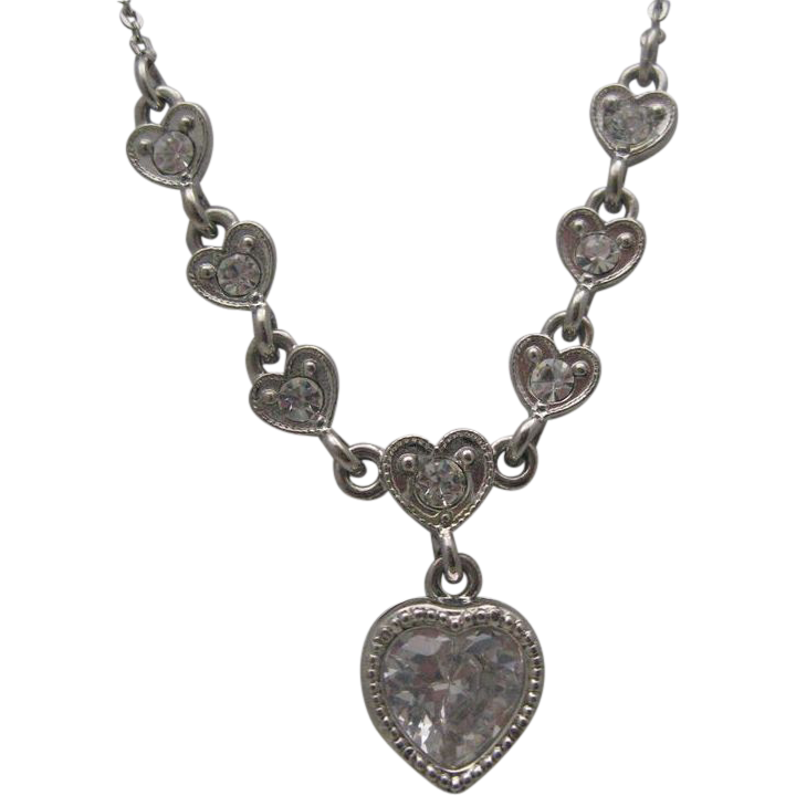 Valentine Heart and Tennis Bracelet Clear Rhinestones