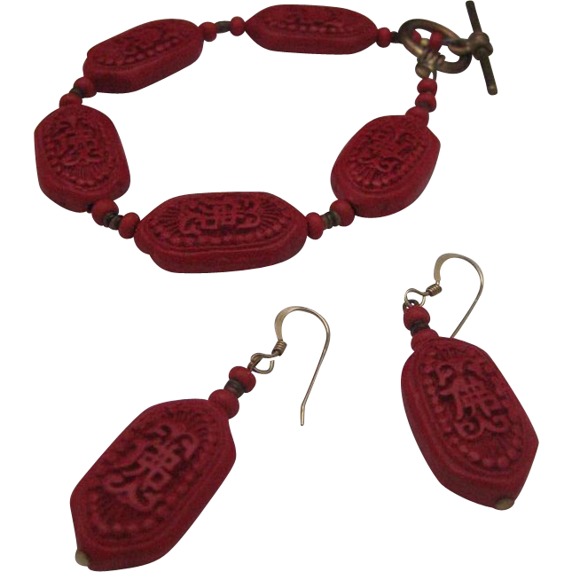Dainty Cinnabar Bracelet Earrings Set