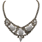 Rhinestone and Milk Glass Cocktail Necklace c1950