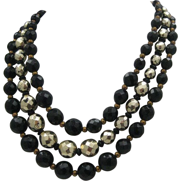 50's French Jet and Golden Bead Necklace three Strands