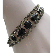 1950 French Jet and Rhinestone Cocktail Bracelet