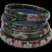 C1960 Cloisonne Bracelet Set 4 Large Bangles
