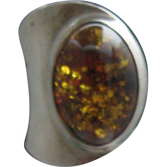 Sterling Silver Amber Modern Style Ring 6