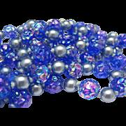 Iridescent Cobalt Carnival Glass Flapper Necklace 52 inche