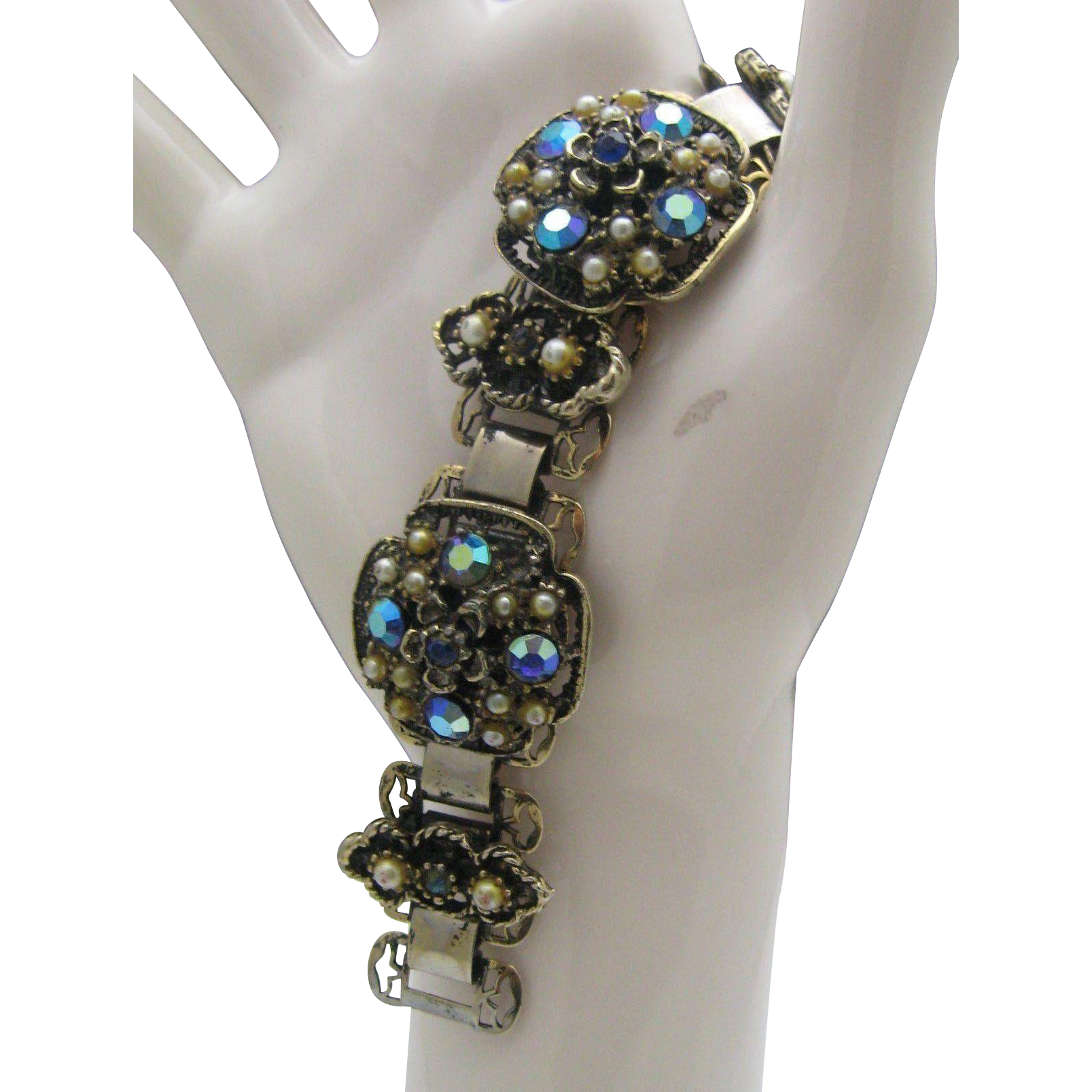 Victorian Bookchain Bracelet Blue Stones Seed Pearls
