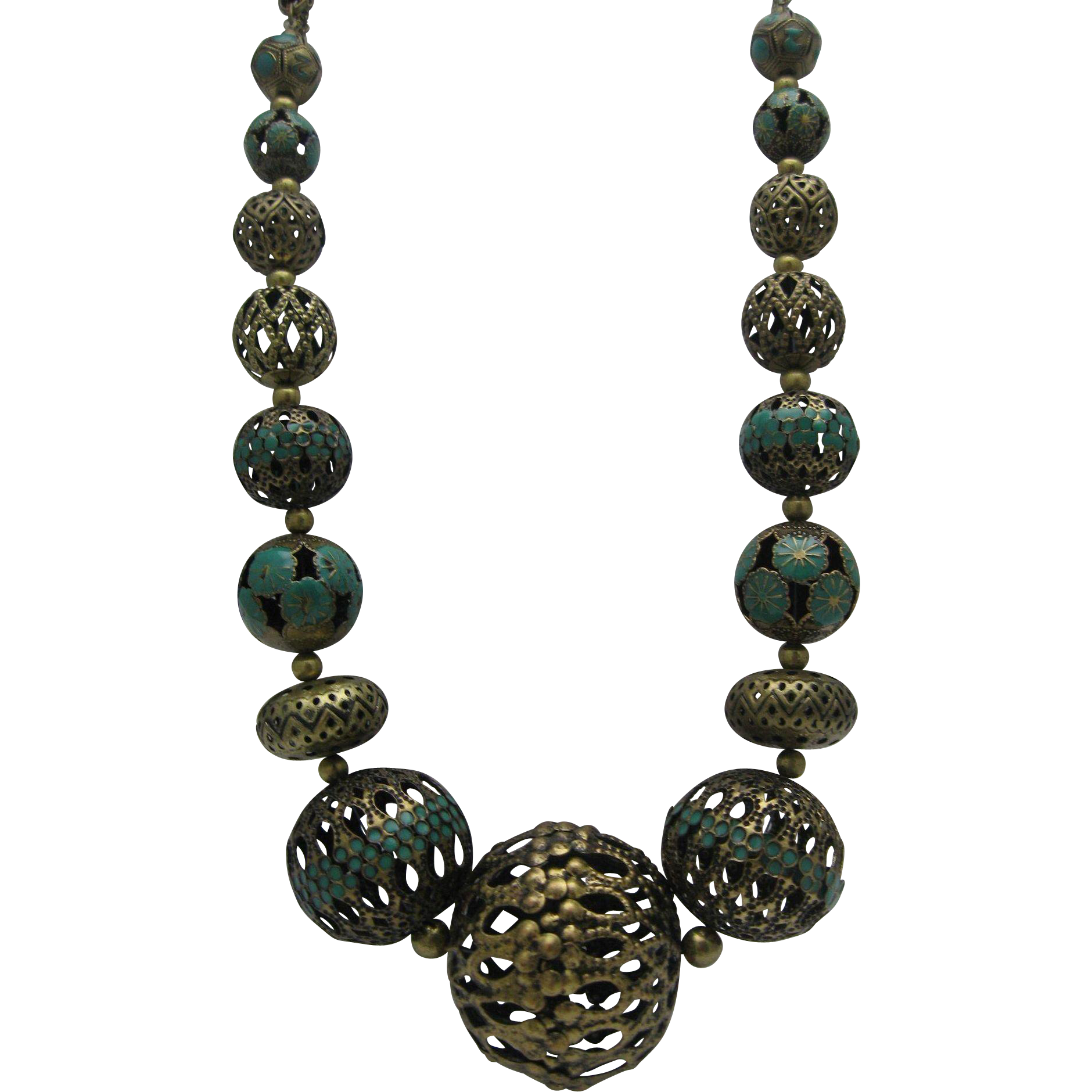 1960 Brass Enameled Temple Necklace