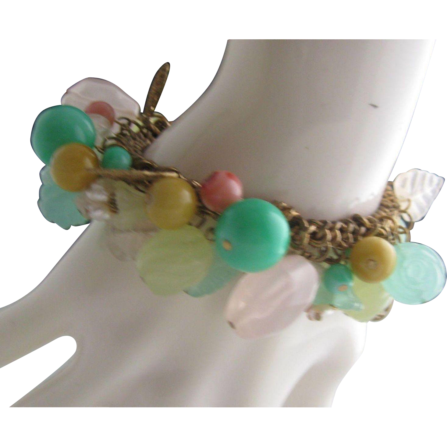 Pressed Glass Turquoise Rose Quartz  Charm  Bracelet