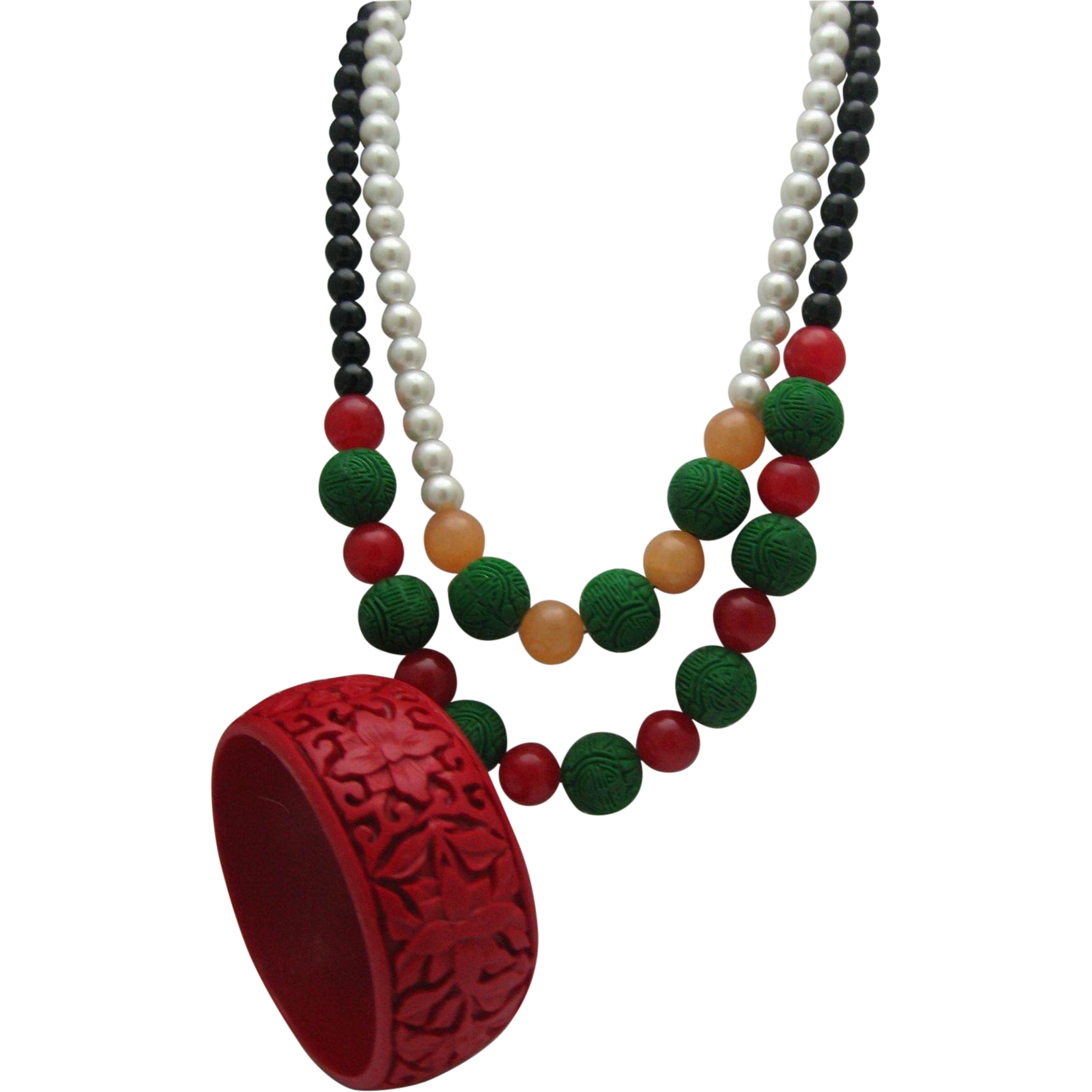 Cinnabar Pearl Necklace Bracelet Set