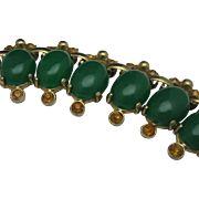 1960 Jade Green Amber Necklace