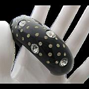Jet Black Rhinestone Celluloid Bracelet c1950