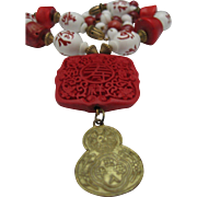 Chinese Cinnabar and Coral Pendant