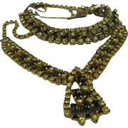 Chartreuse Rhinestone Necklace Bracelet Set 1960
