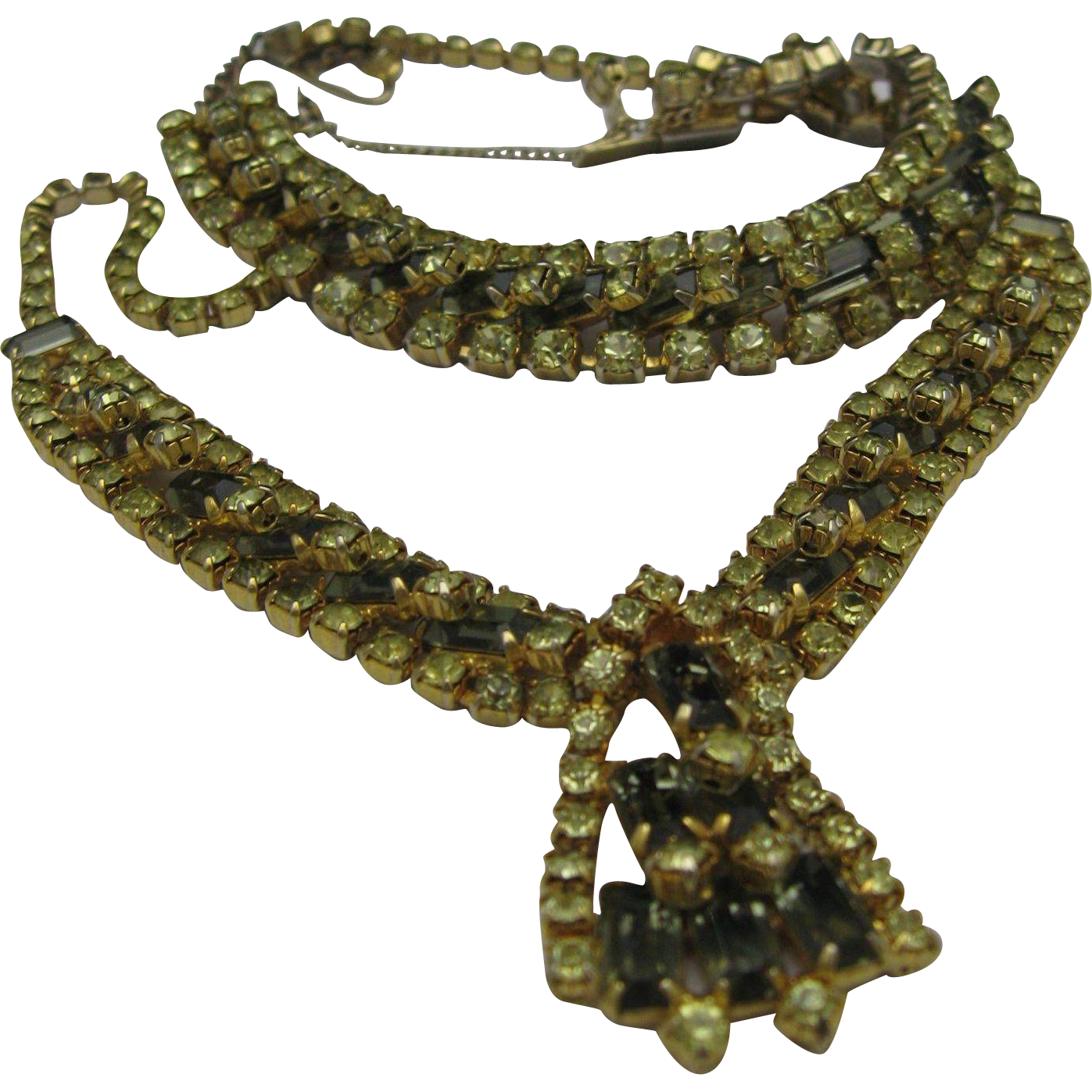 Chartreuse Rhinestone Necklace Bracelet Set 1960