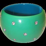 Blue Green Hinged Rhinestone Bracelet c1980