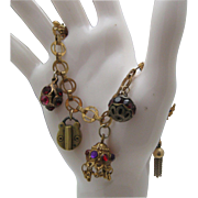 Padlock Love Locket Charm Bracelet c1950