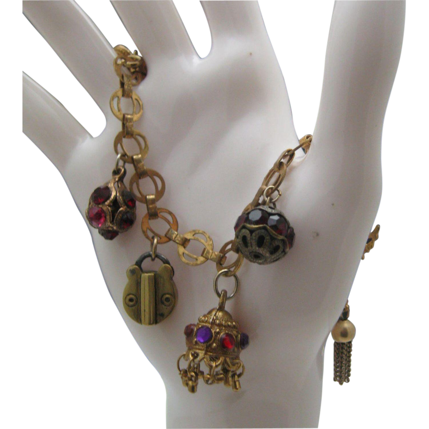 Padlock Love Locket Charm Bracelet c1950