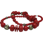 Red Celluloid Chrome C1960 necklace