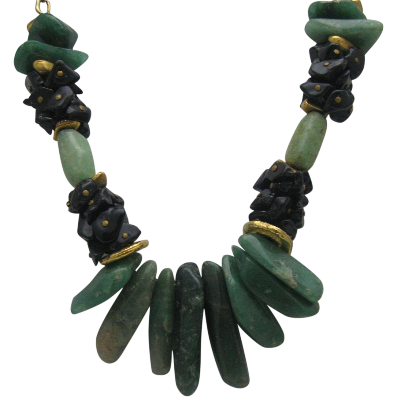 Chunky Jade Black Coral Necklace 1970