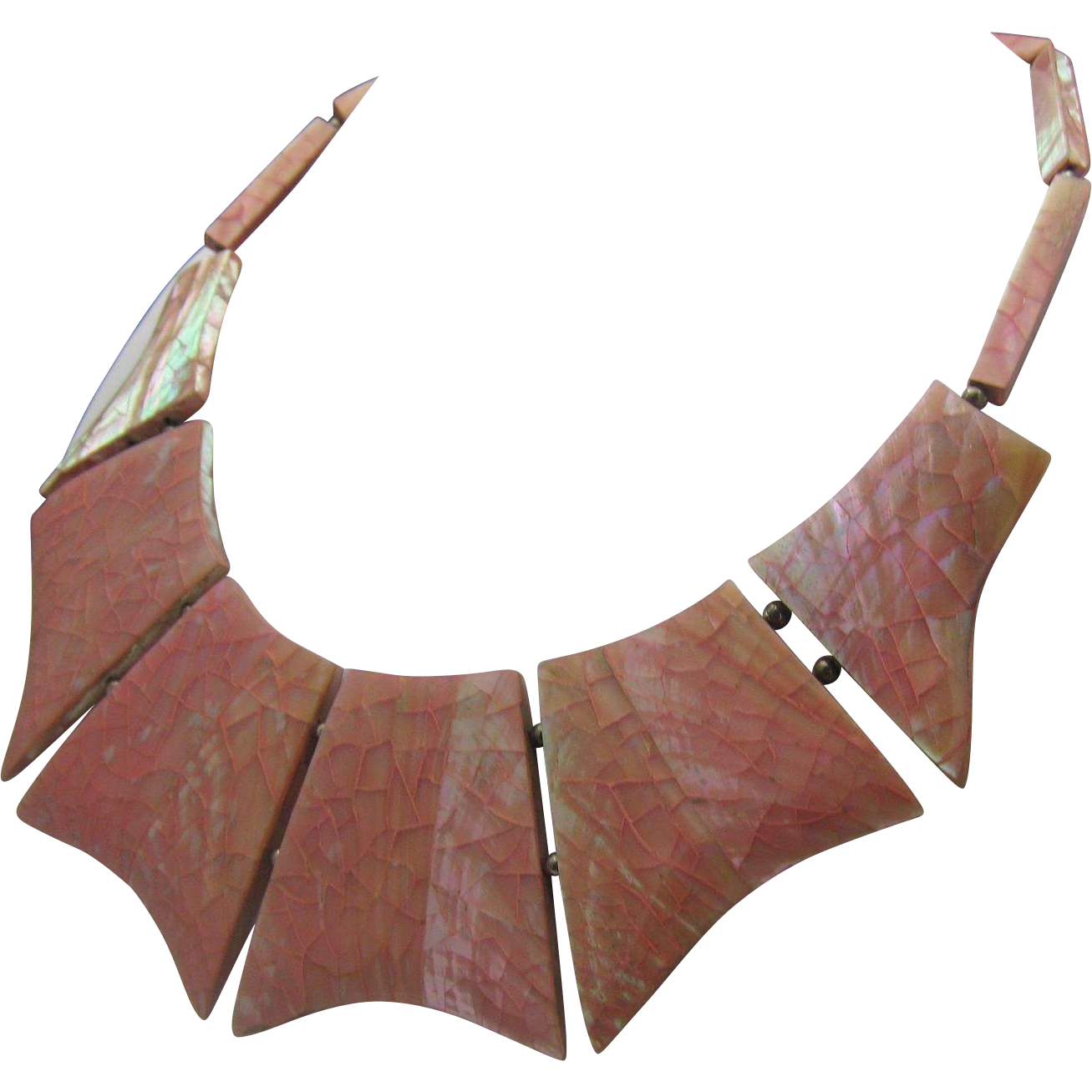 Rose Pink Mother of Pearl Choker Necklace 1940