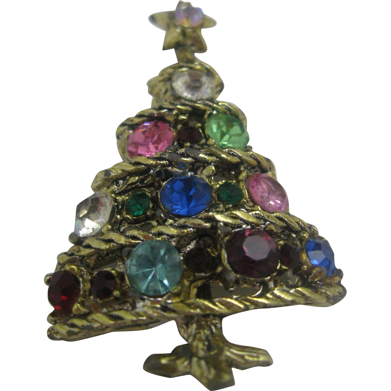 Rhinestone Christmas Tree Brooch