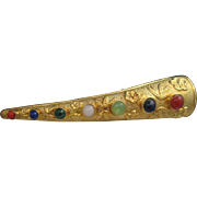 Finger Nail Guard Brooch Semi Precious Stones