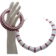 Mid Century Candy cane Necklace Bracelet Set
