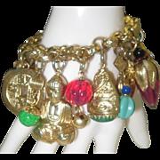 Vintage Napier Charm Bracelet Asian Inspired