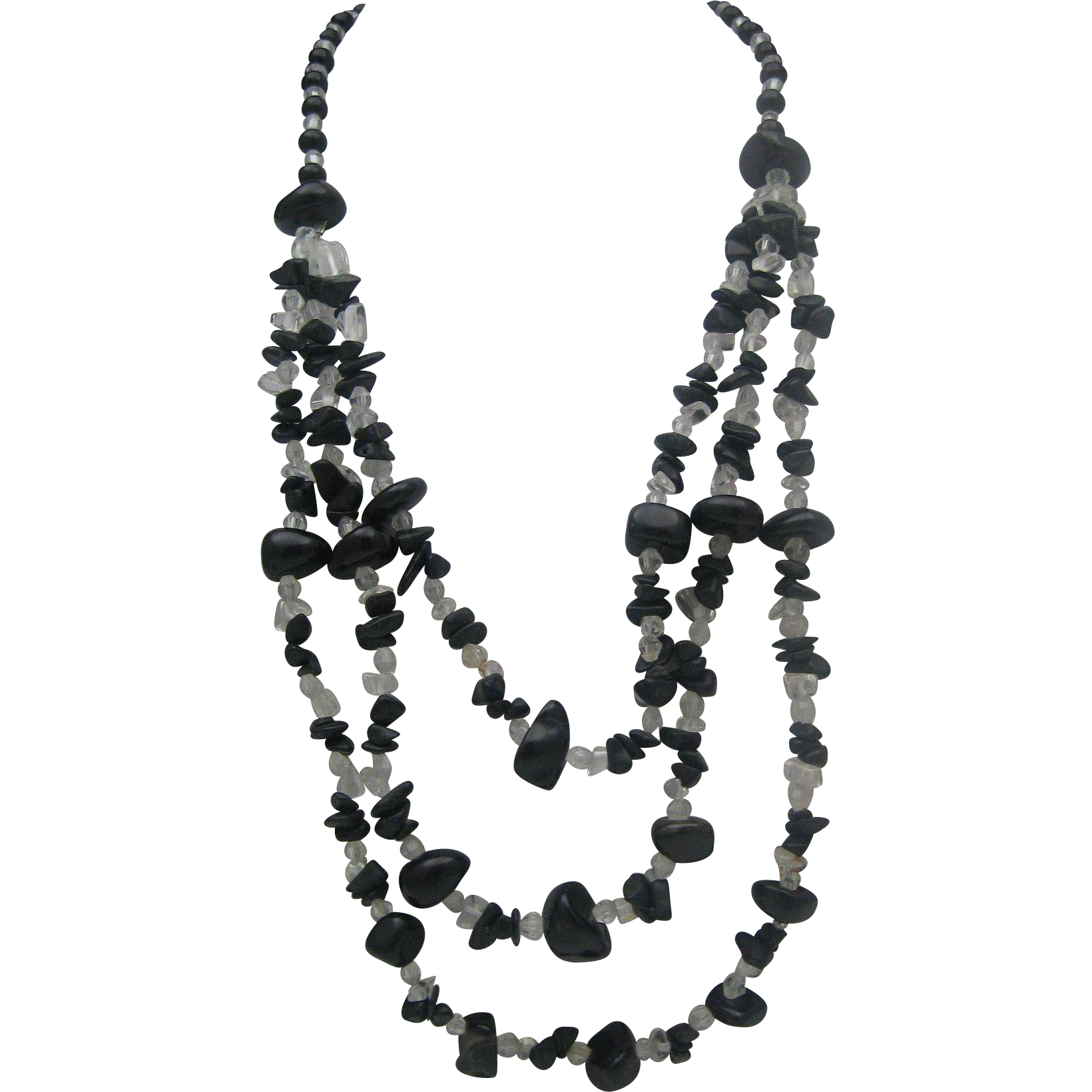 Ebony Agate and Crystal Necklace c1970's