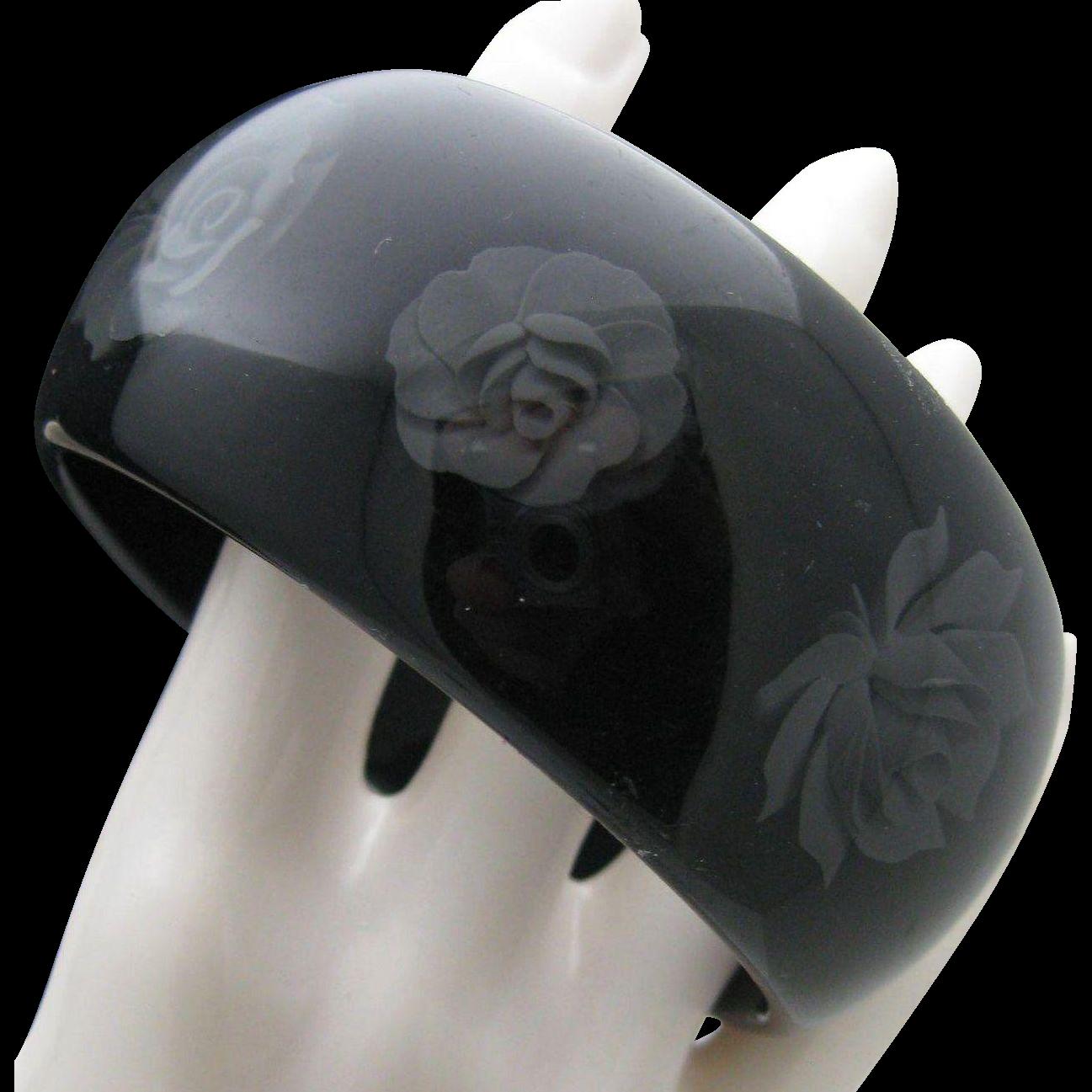 Black Gray Rose Reverse Carved Bracelet