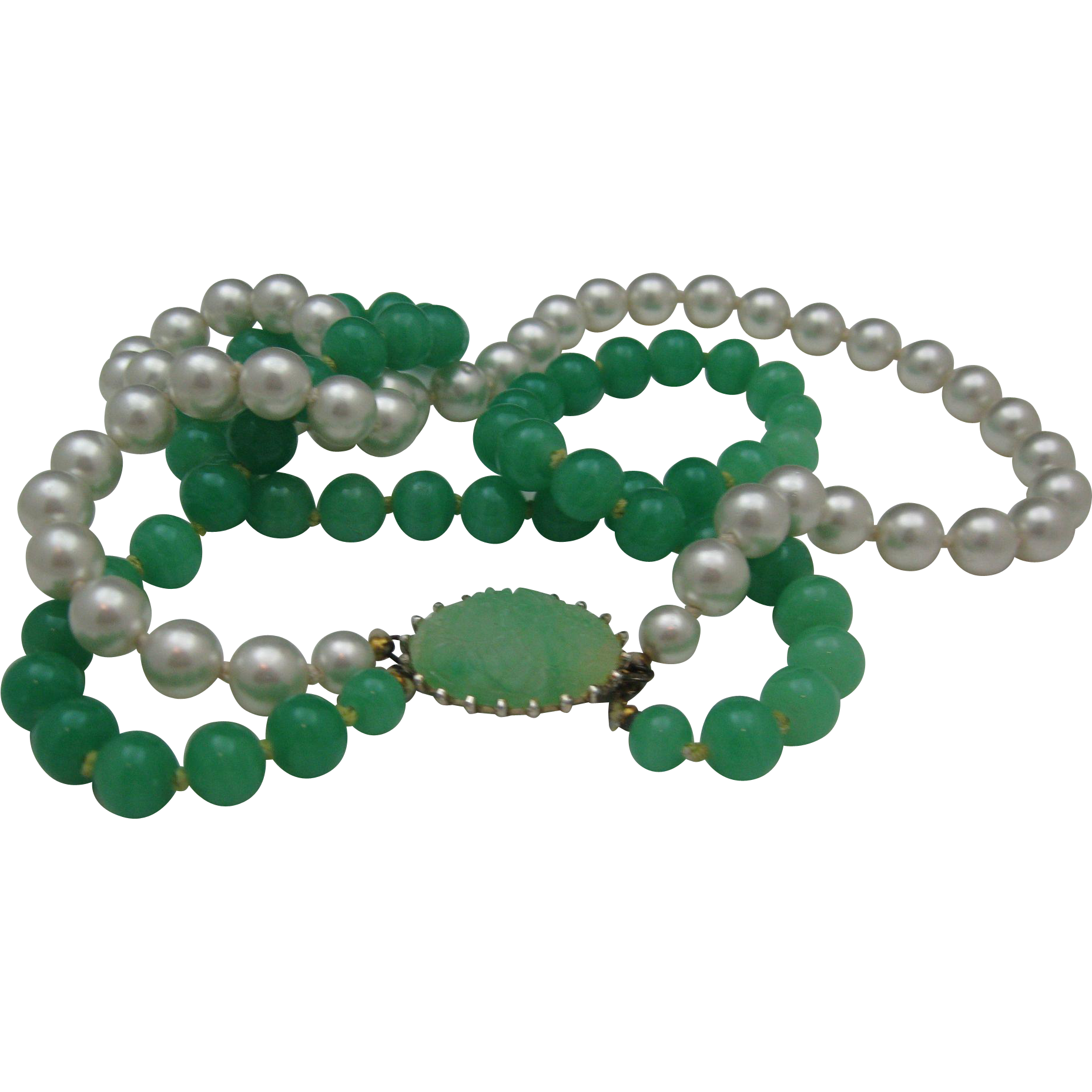 Lovely Peking Glass Faux Pearl Necklace