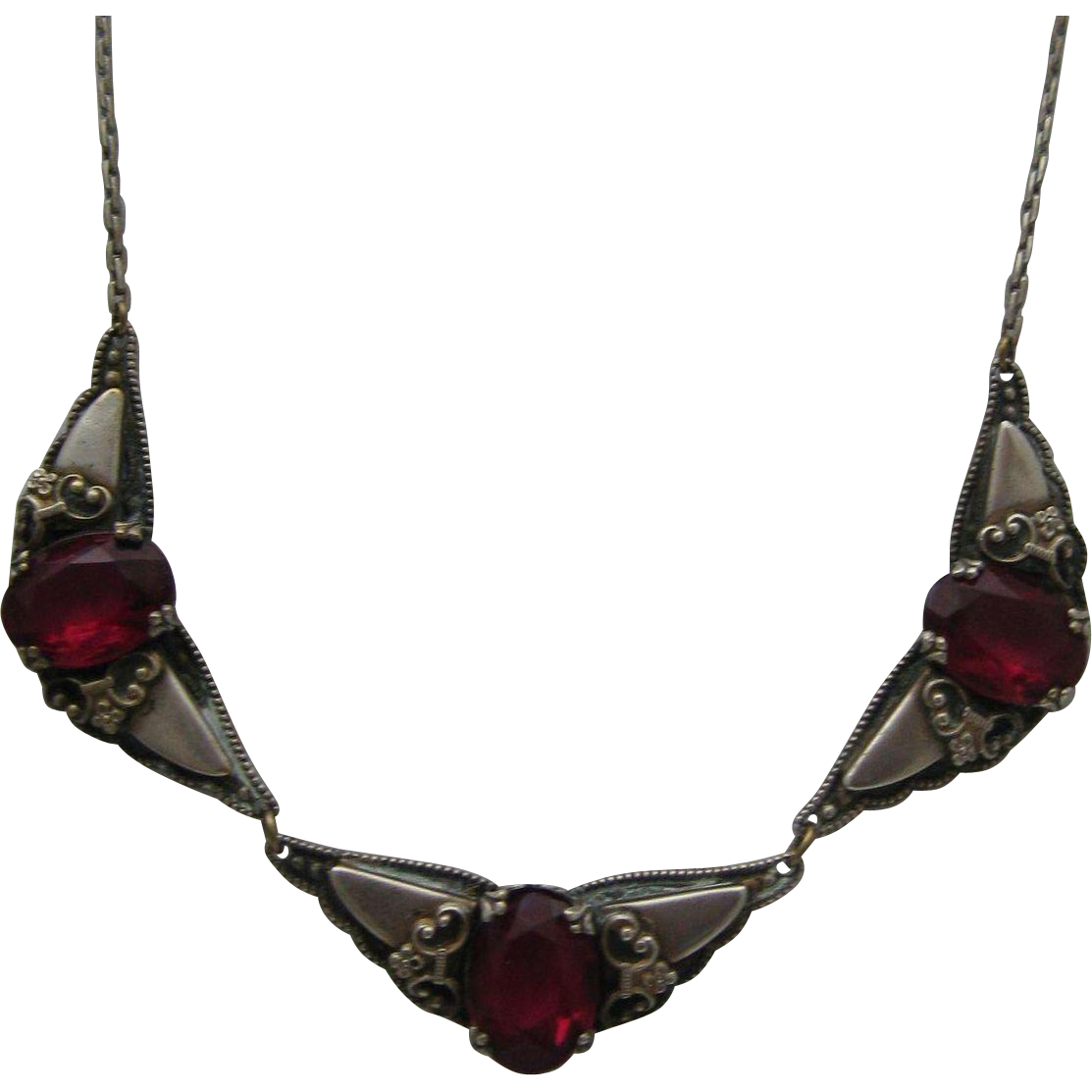 Art Nouveau Silver Amethyst Necklace