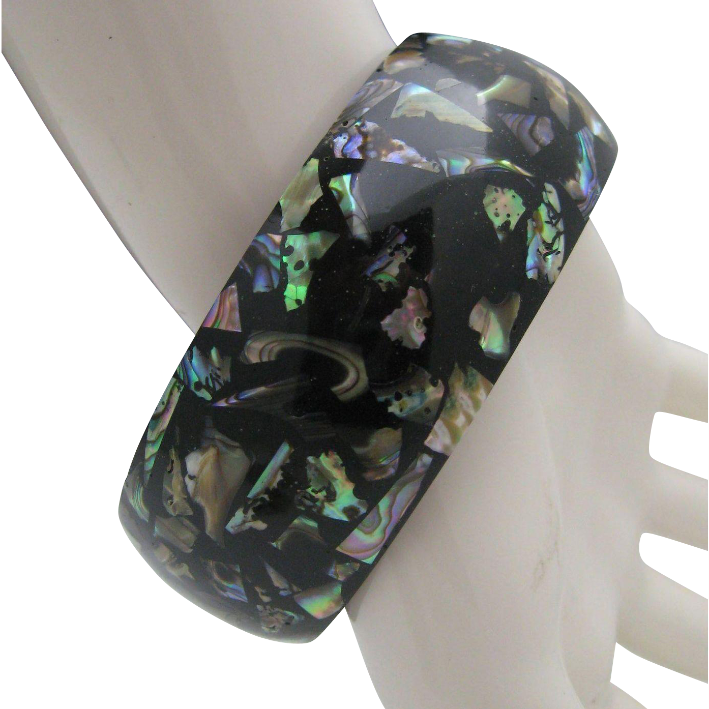 Mid Century Abalone Celluloid Bangle Bracelet