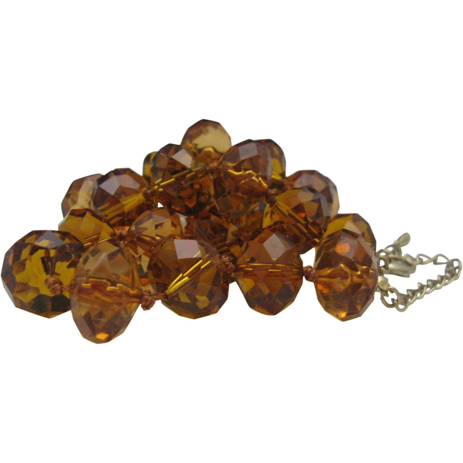 Amber Cognac Cut Crystal Necklace c1970