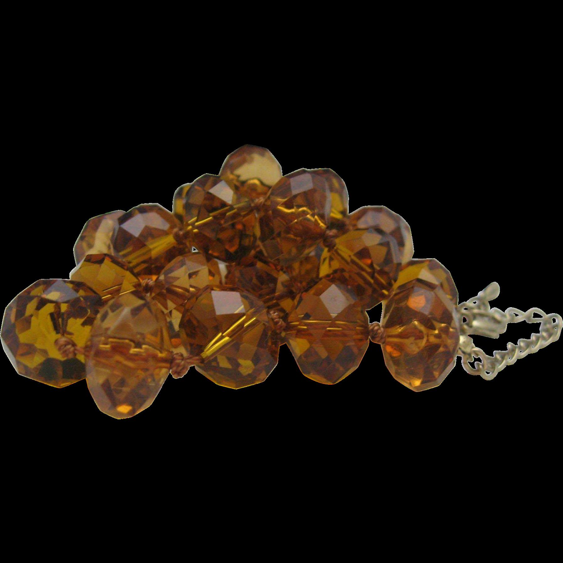 Amber Cognac Cut Crystal Necklace c1970