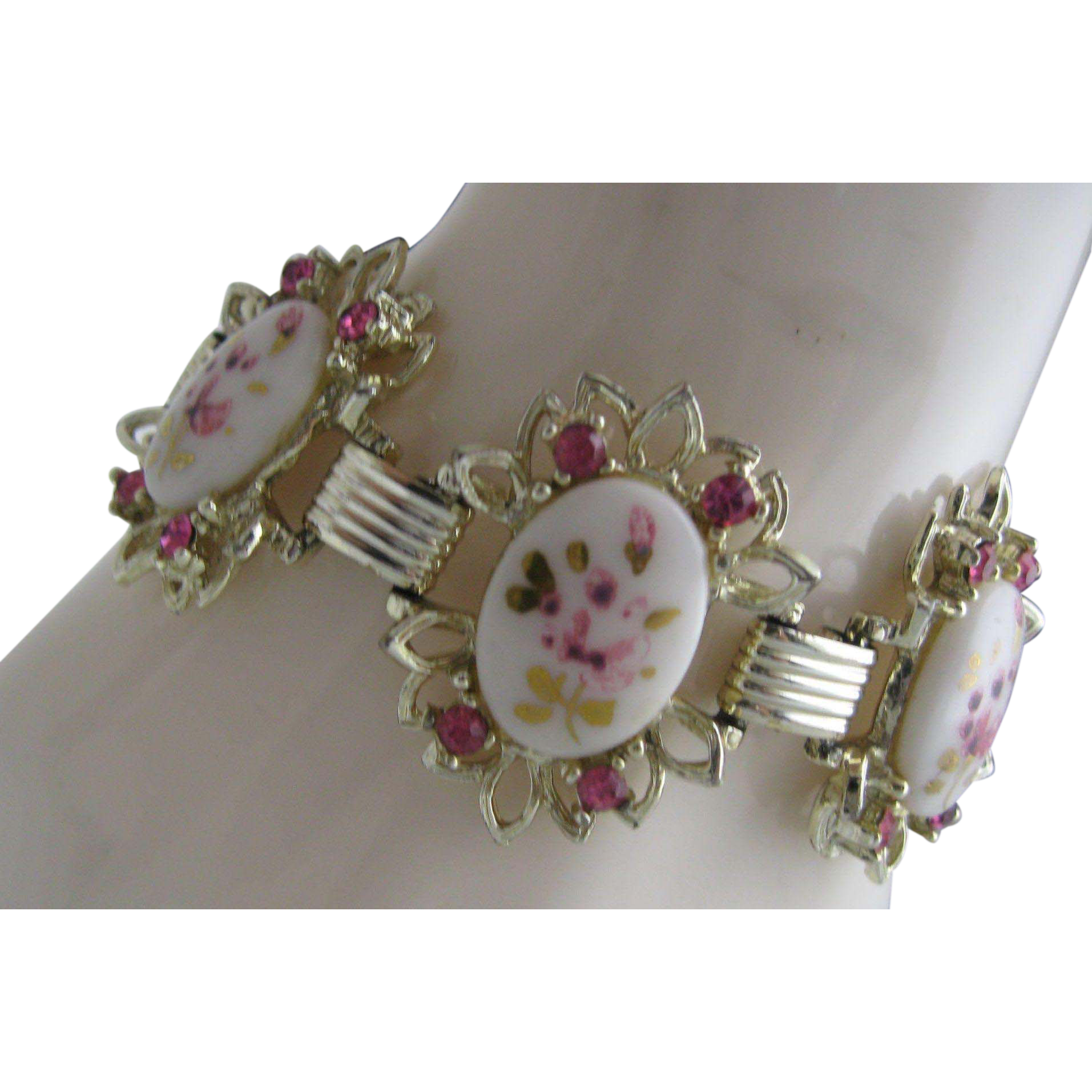 Pink Rhinestone Rosebud Bracelet Bookchain