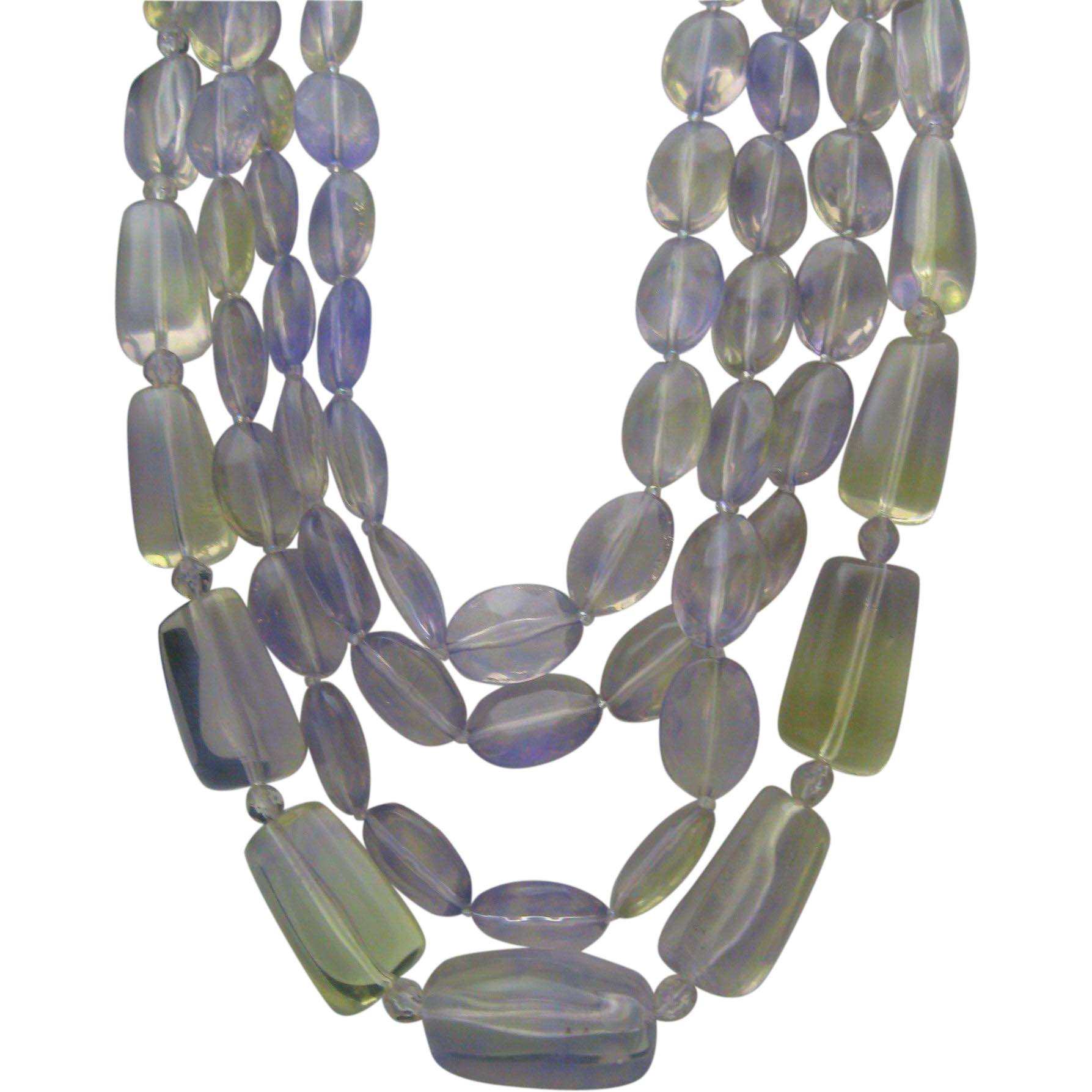 Gorgeous Lavender Luicte 3 Strand Necklace 1960