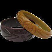 Set deeply Carved Genuine Bakelite Bracelets