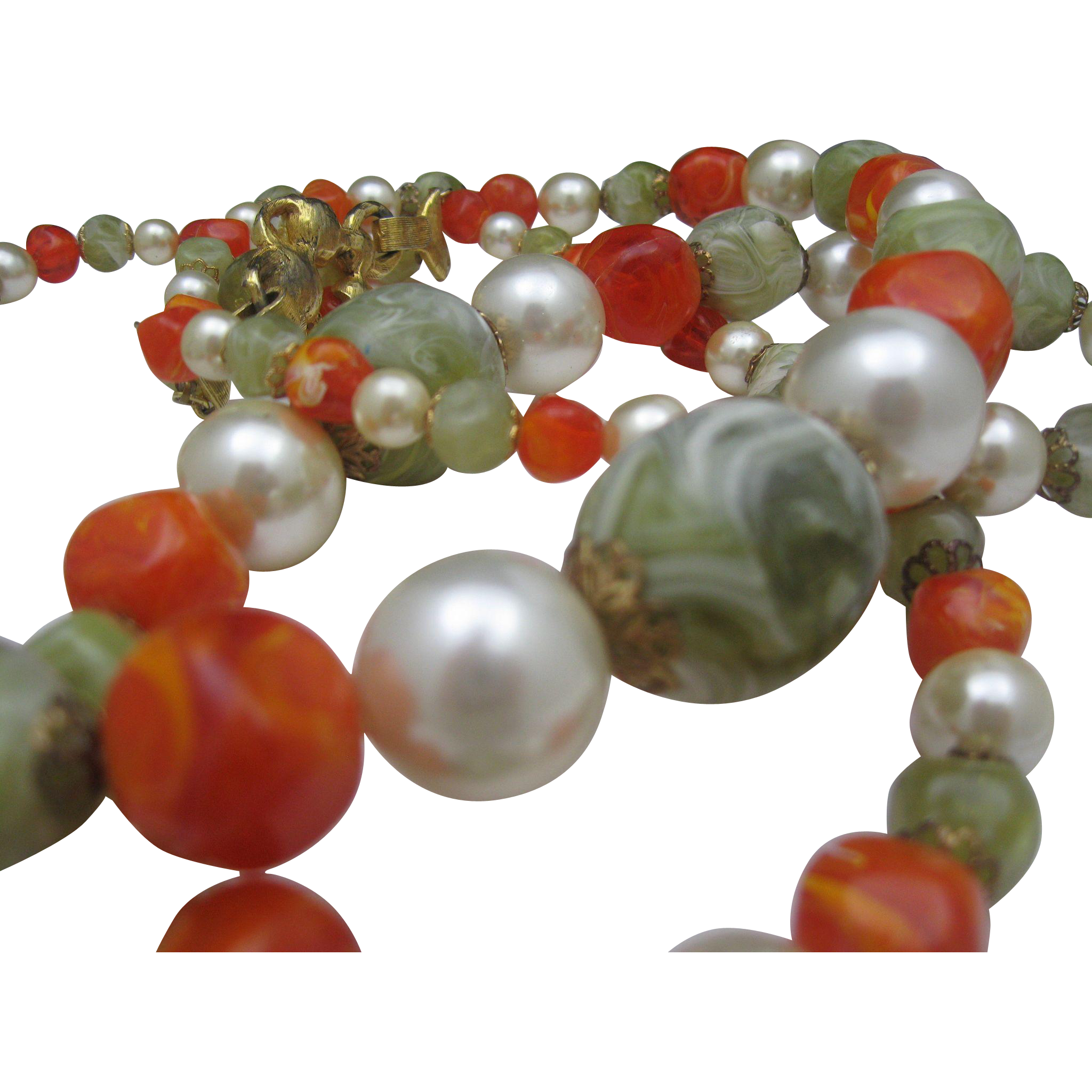 Big Bold Tangerine Pearl Necklace c1970