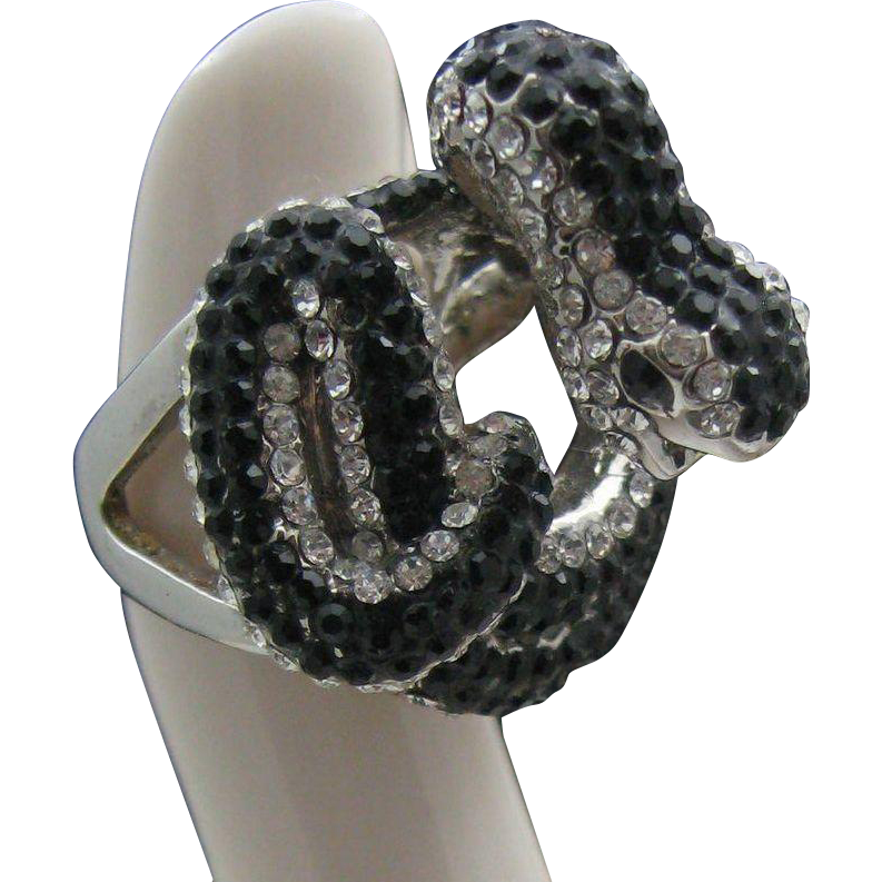 Fabulous Coiled Black Rhinestone Snake Ring 6 1/2