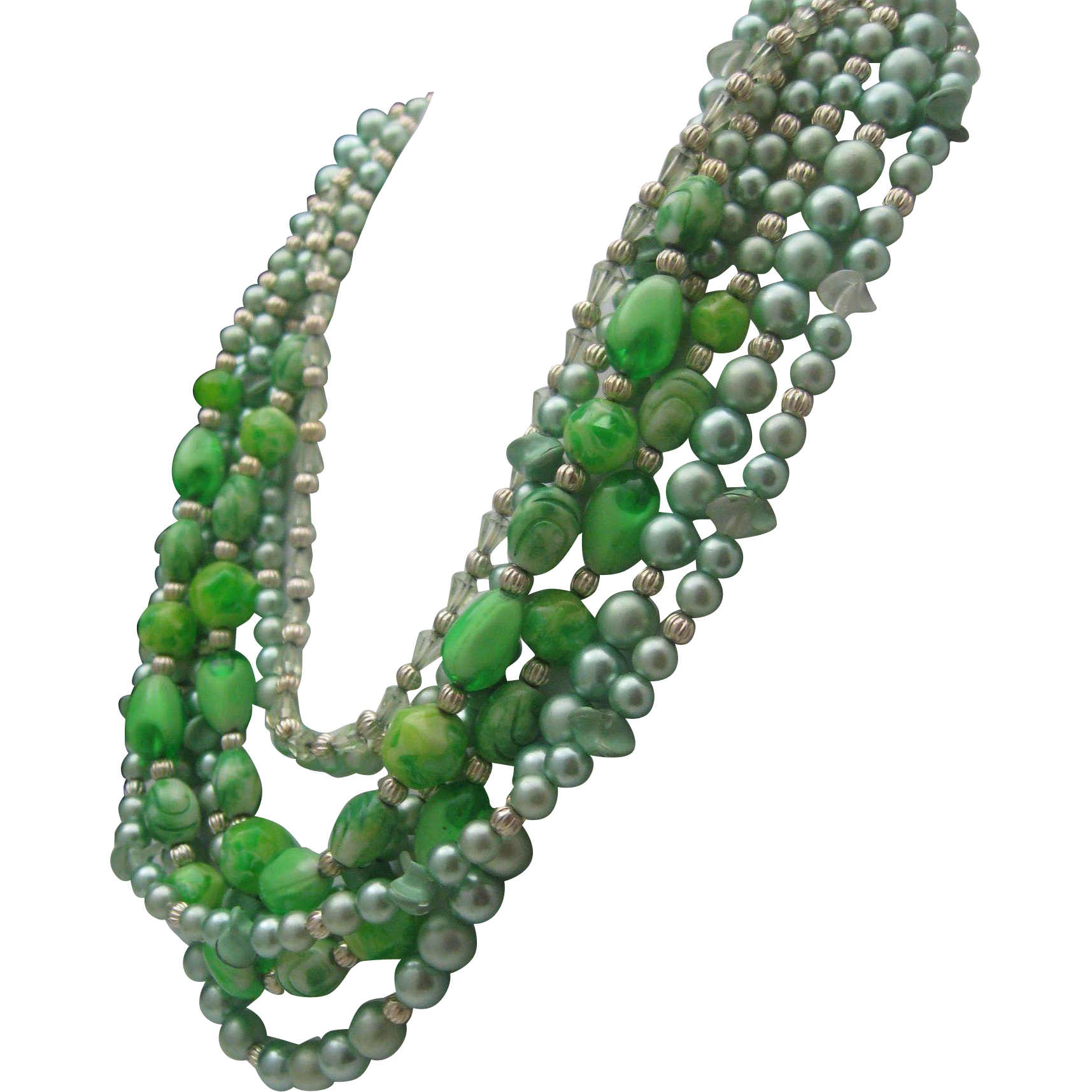 Mid Century Meadow Green 7 Strand Necklace Japan