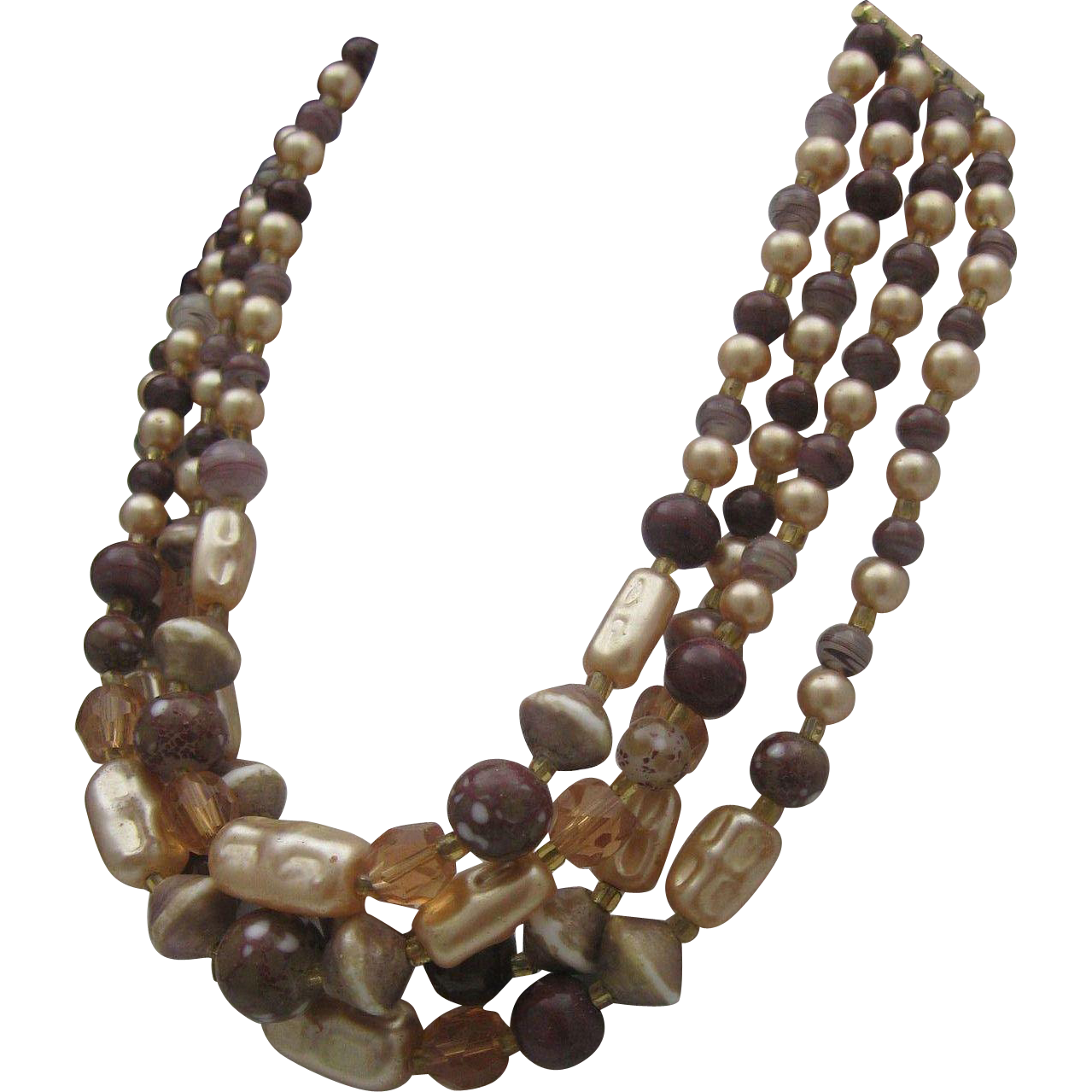 Japan Brown/Taupe Glass Bead Necklace