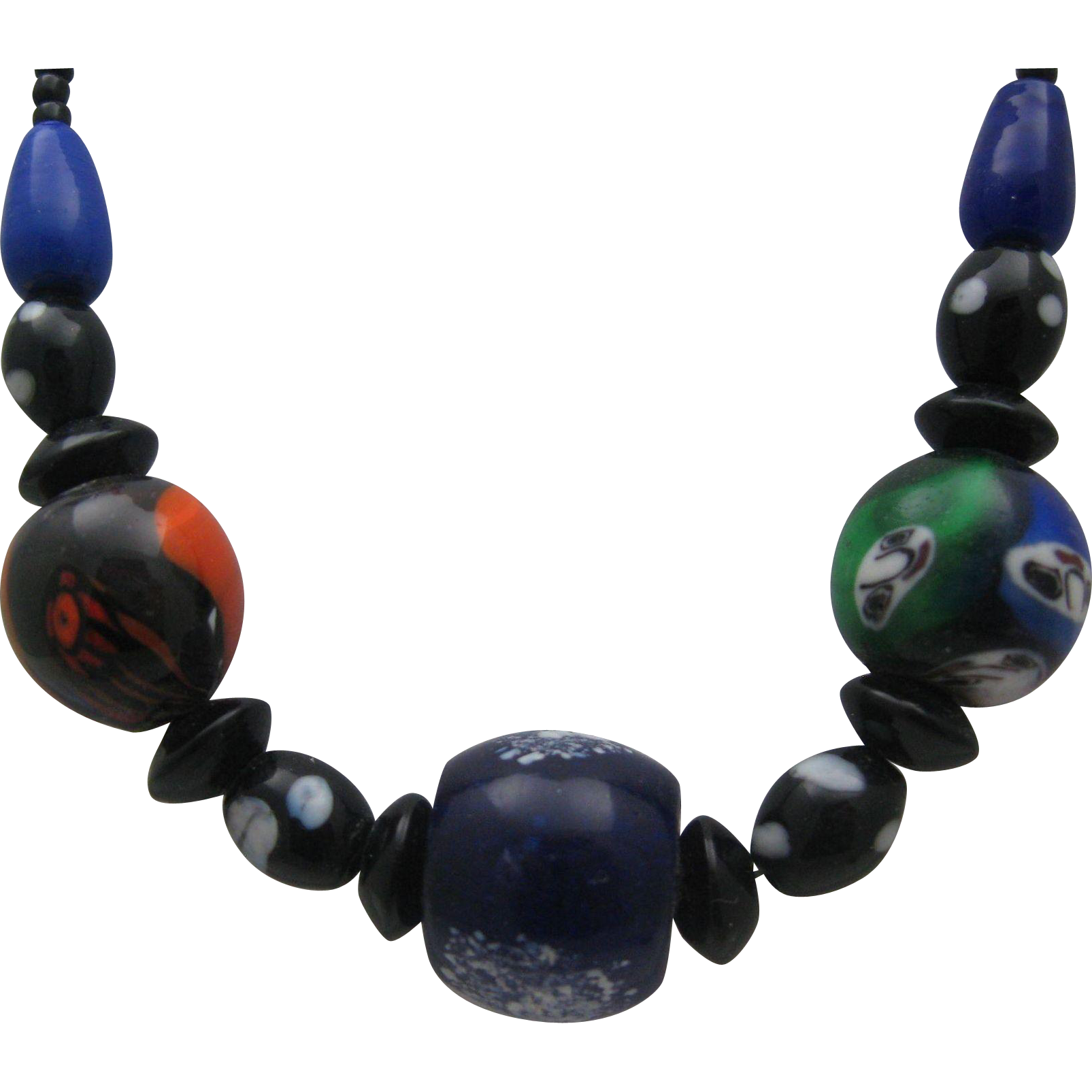 Italian Art Deco Millefiori Glass Necklace Choker style